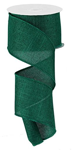Solid Canvas Wired Edge Ribbon, 10 Yards (Emerald Green, 2.5