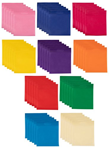Party Favor Bags with Die Cut Handles - 60-Pack Reusable Non-woven Gift Bags, Rainbow Color Retail Bags for Goodies, Treats, Great for Kids Birthday Party, 10 Assorted Colors, 11.8 x 9.7 Inches ()