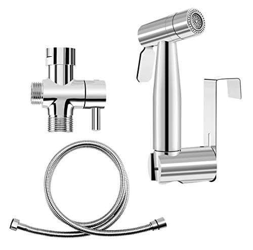 - Hand Held Bidet Toilet Sprayer Set, Bathroom Cloth Diaper Washer with 2 Stage Stainless Steel High Pressure Sprayer, 22.3'' Double Explosion-proof Hose, T-adapter, Wall/Tank Mounted Holder