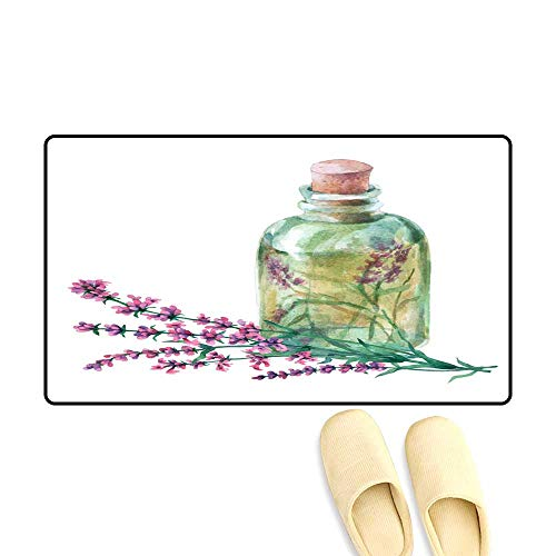 High Water Absorption Door mat Bouquet of Lavender Essential Lavender Petals in a Glass Vial Watercolor han Painting Illustration on Isolate White Back