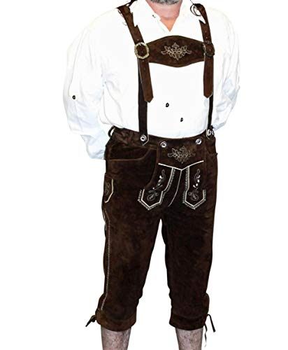 2-Piece Leather German Oktoberfest Lederhosen Shorts Pants 36 Brown