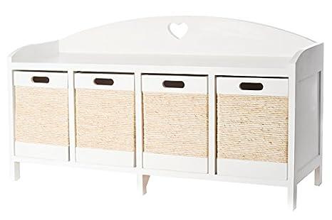 Panca Contenitore Legno : In legno con cassetti in vimini colore bianco panca