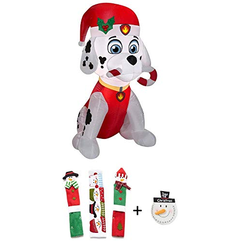 Inflatable Medic Air (EJloveshopping Holiday 3 ft. H x 1.64 ft. W Inflatable Marshall The Fire Pup Candy Cane Bonus Snowman Kitchen Appliance Handle Covers & Snowman Countdown Calendar)