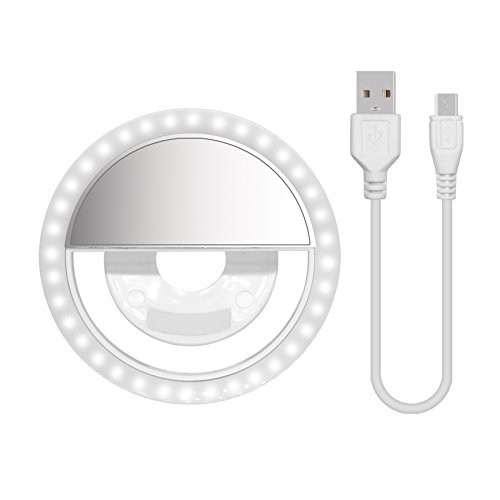 Selfie Ring Light, 2EYOU Rechargeable Selfie LED Camera Light with 3-Level Brightness 36 Led Portable for Phone Camera Photography Video, White