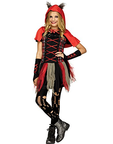 Fun World Girls Little Wolf Costume, Red, X-Large 14-16