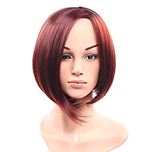 Secretgirl Straight Short Synthetic Hair Red Bob Wigs None Lace Cosplay Wig for Women (99J)