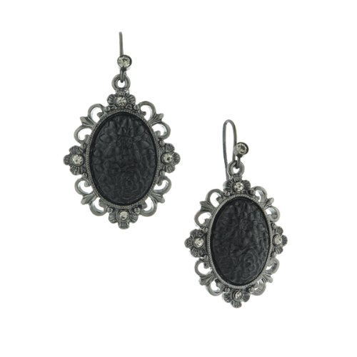 1928 Jewelry Jet Oval Earrings -
