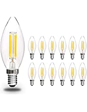 Svater Bombillas Vela de Filamento LED E14 Edison Estilo Vendimia Blanco Cálido 2700K 450 Lúmenes 4W Equivalente 40W Incandescente No Regulable Pack de 12
