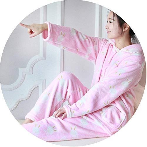 Show-Show-Fashion Pyjamas Female Winter Thick Flannel Warm Female Pajama Set Cute Cartoon Bear Long Sleeve F,Color 10,L -