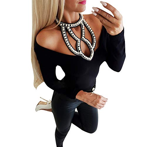 Lutos Womens Long Sleeve Tops V Neck Cold Shoulder Cut Hollow Out Rhinestone Blouse T-Shirt
