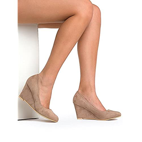 2ba43f88979d3 well-wreapped OLIVIA K Women's Low Wedge Heel - Cute Office Casual ...