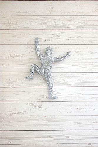 Climbing Man Metal Wall Art Sculpture, Handmade Artisan Silver Rock Climber Sports Decorative Art