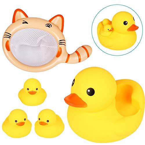 욕실 용 장난감 Acetek 아기 장난감 물놀이 오리 친자 4 마리 낚시 그물 물총 아기 귀여운 동물 어린이 장난감 수영장 목욕 반목 튜브 분수 鳴ける 선물 5 종 세트