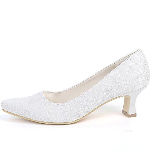 Las Encaje Cerrados nuevo Eleoulck 5 La Tacones Moda De Gruesos Dama Ivory Boda Mujeres Tobillo Zapatos 5cm OFtCwxT