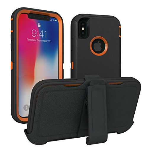 iPhone X Case, iPhone Xs Case, ToughBox [Armor Series] [Shock Proof] [Black | Orange] for Apple iPhone X Case [Comes with Holster & Belt Clip] [Fits OtterBox Defender Series Belt Clip] -