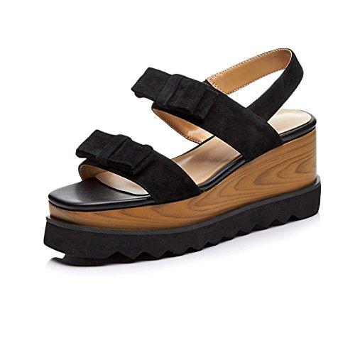KJJDE Zapatos con Plataforma Mujeres WSXY-L0405 Accesorios Creativos del Bowknot Sandalias Mujer Zapatilla Chanclas de Moda Confort Peep Toe Tacón Zapatos Para Caminar Negro