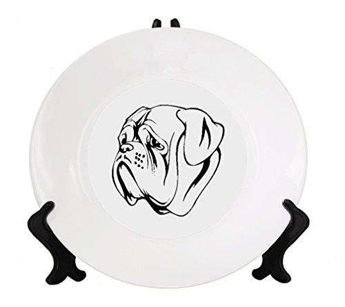 Dogue De Bordeaux Head Black Ceramic Plate with Stand