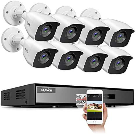 SANNCE 8CH Full 1080P Lite Security Camera System CCTV DVR and 8 1080P Night Vision Surveillance Cameras, IP66 Weatherproof, QR Code Scan and Remote Access No Hard Drive Included