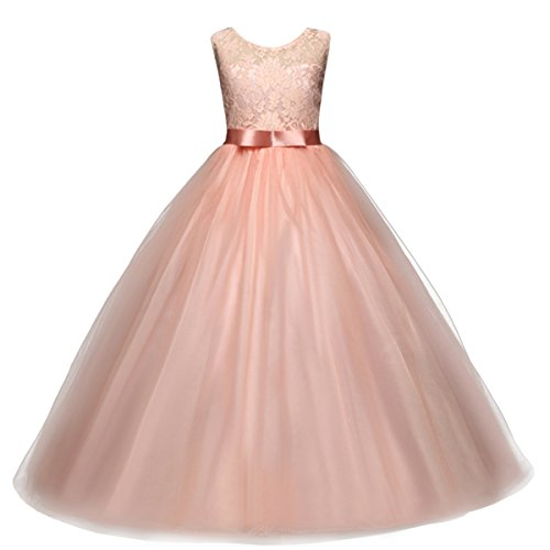 Big Girl Sleeveless Lace Flower Girl Gray Princess Dress Tulle Long Maxi Gown Kids Wedding Bridesmaid Formal Pageant Dresses Pink 12-13 Years ()