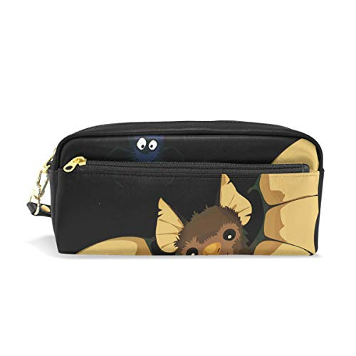 MOVTBA Pencil Case Stylish Print Animals Bat Decoration Halloween Spiders Vampire Art Pattern Large Capacity Pen Bag Makeup Pouch Durable Students Stationery Two Pockets with Double Zipper]()