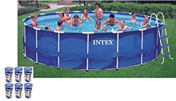 intex 18 x 48 metal frame swimming pool set with 1500 gfci pump