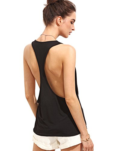 SweatyRocks Women's Sleeveless Flowy Loose Fit Racerback Yoga Workout Tank Top