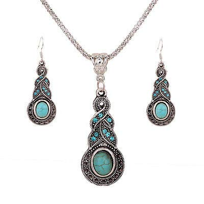 FidgetKute Tibetan Silver Blue Crystal Turquoise Twist Pendant Necklace Hook Earrings Gift
