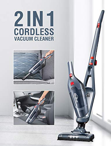 Cordless Vacuum, Kealive Stick Vacuum Cleaner, 2 in 1 Lightweight Rechargeable Bagless Stick and Handheld Vacuum with Wall Mount for Carpet Hardwood Floor Pet Hair and Corner Lighting, Black