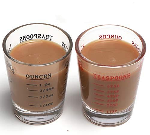 Shot Glasses Measuring cup Espresso Shot Glass Liquid Heavy Glass Wine Glass 2 Pack 26-Incremental Measurement 1oz, 6 Tsp, 2 Tbs, 30ml (Black and Red) by BCnmviku