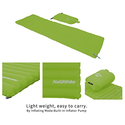 Green Naturehike Ultralight Outdoor Sleeping Pad with Pillow Fast Inflatable Tube Design