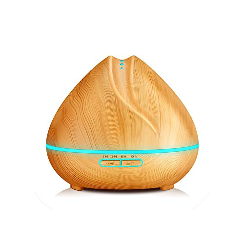 mamamoo 400ml Aroma Essential Oil Diffuser Ultrasonic Air Humidifier Purifier with Wood Grain Lights for Office Home Bedroom,Light Wood,EU