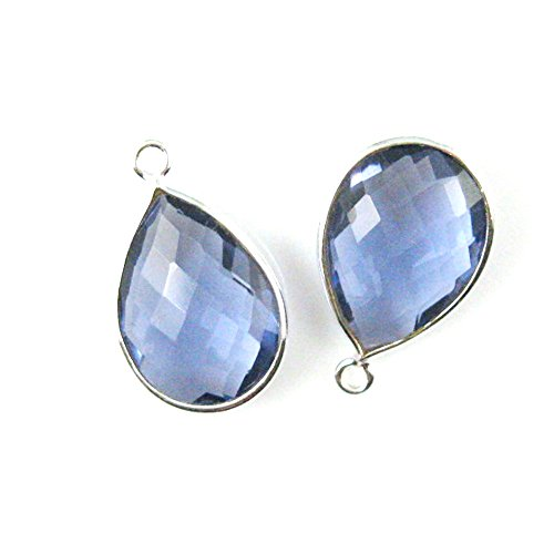 Gemstone Pendant - Sterling Silver - 13x18mm Faceted Pear Shape - Iolite Quartz (Sold Per 2 Pieces) ()
