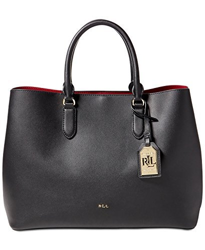 LAUREN Ralph Lauren Women's Dryden Marcy Tote Black/Crimson One Size Dryden Handle Base