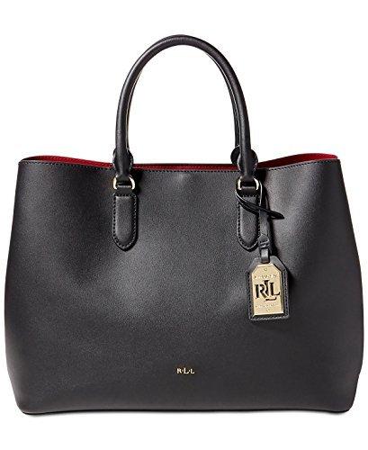 LAUREN Ralph Lauren Women's Dryden Marcy Tote Black/Crimson One Size Dryden Handle Base
