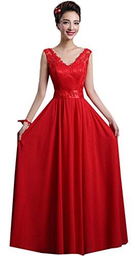 SiYuan Red Women's Sweetheart Chiffion Bridesmaid Long Evening