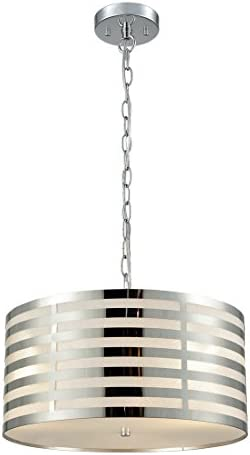 AXILAND Modern 3 Lights Drum Pendant Lighting Chrome Finish
