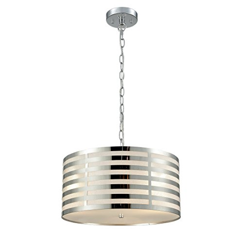 AXILAND Modern Chrome Hanging Chain Drum Shade Ceiling Pendant Chandelier, 3-Light