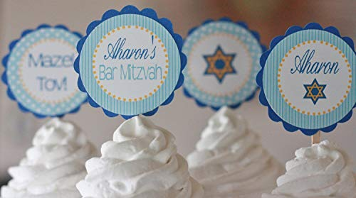 12 - Bar Mitzvah Jewish Mazel Tov Blue, Royal Blue & Gold Star of David Cupcake Toppers - Party Packages, Tags, Banners, Door Signs Available