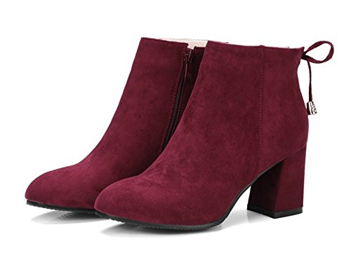 Aisun Womens Square Toe Dress Fashion Faux Suede Booties Zip Up Mid Block Heel Ankle Boots Wine Red 28pZ1