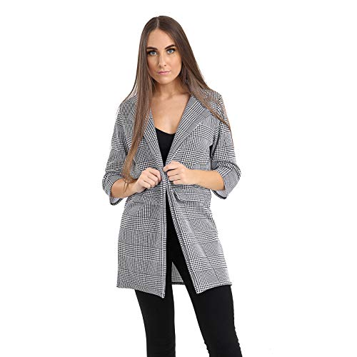 (Womens Blazer Houndstooth Multi Check Print Casual Long Sleeves Coat UK Size 8-14)