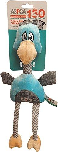 Bow Wow Pet Aspca Funky Burlap Chicken Dog Toy-Blue