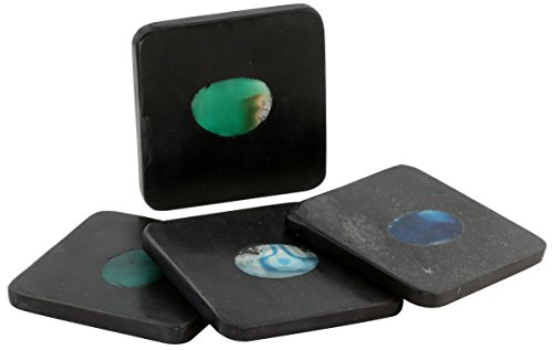Green Agate Set (Thirstystone NM005 Square Black Marble/Blue Green Agate Coasters (Set of 4), Multicolor)