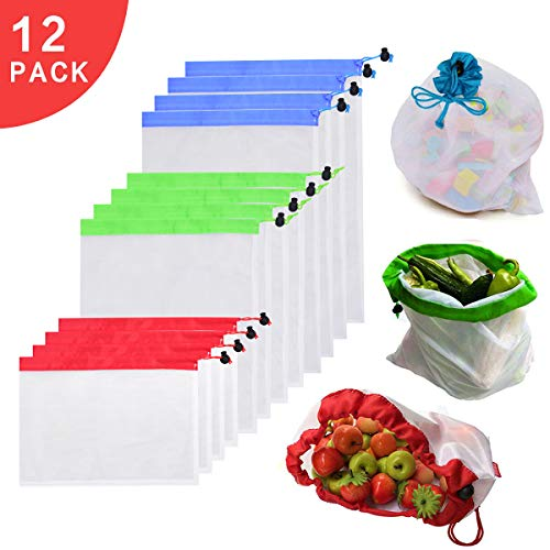 Reusable Mesh Produce Bags - Eco Friendly Zero Waste Mesh Bags with Drawstring - Set of 12