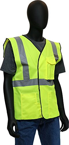(West Chester 47203 Class 2 High Visibility ANSI Compliant Work Wear Economy Solid Knit Vest: Green, Medium)