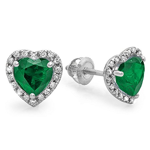 10K White Gold Heart Shape Emerald & Round Cut Diamond Ladies Halo Stud (10k Gold Emerald Heart)