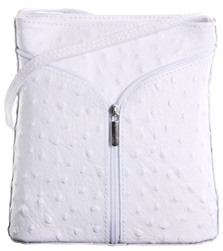 Italian Leather Hand Made Ostrich Effect Small White Cross Body or Shoulder Bag Handbag. Includes a Branded Protective Bag