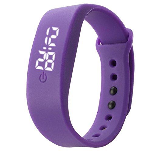 Binmer(TM)Womens Mens Rubber LED Watch Date Sports Bracelet Digital Wrist Watch (Purple)