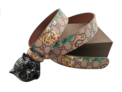 Fashion Mens Genuine Leather belt Tiger head buckle dress pants belt (Black buckle, 105cm)