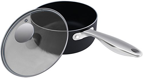 2 Quart Nonstick Saucepan with Glass Lid - 18 x 9 cm - Multipurpose Use for Home Kitchen or Restaurant - Chef's Choice - by Utopia Kitchen
