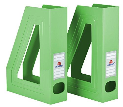 Acrimet Magazine File Holder (Green Citrus Color) (2 Pack)